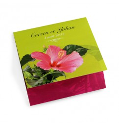 Faire part mariage hibiscus vert