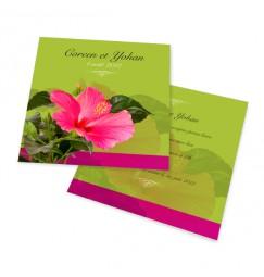 Carton d'invitation hibiscus vert
