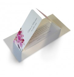 Wedding invitation pink orchid wrap
