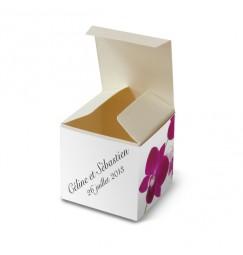 Boite de dragée orchidée wrap