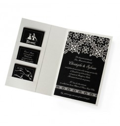 Wedding invitation silver baroque