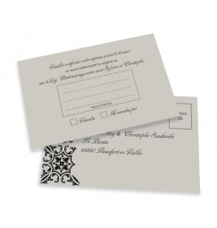 RSVP card silver baroque