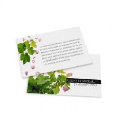 Carton d'invitation pétales et vignes wrap