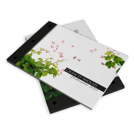 Wedding book petals and vines