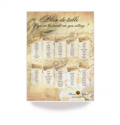 Plan de table billet de voyage