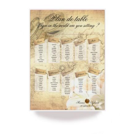 Plan de table billet de voyage