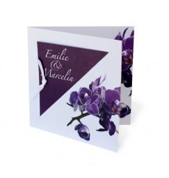 Faire part mariage orchidée avorio violette