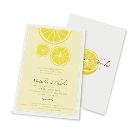 Faire part mariage citron