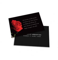 Carton d'invitation rose noir et rouge