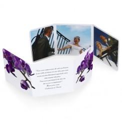 Remerciement triptyque orchidée violette wrap