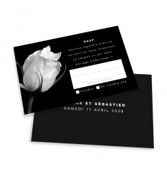 RSVP card black and white rose