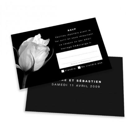 Carton réponse rose noir et blanc