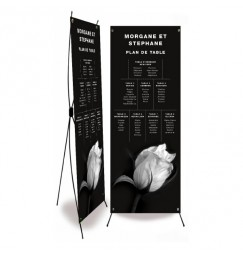 Table plan banner black and white rose