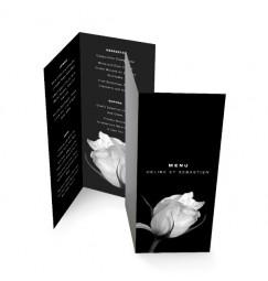 Menu black and white rose