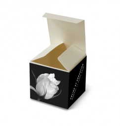 Wedding favor box black and white rose