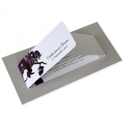 Faire part mariage orchidée violette wrap