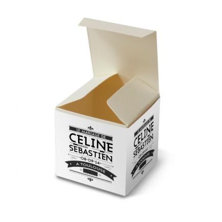 Wedding favour box art nouveau black and white