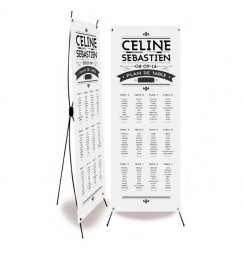 Table plan banner art nouveau black and white