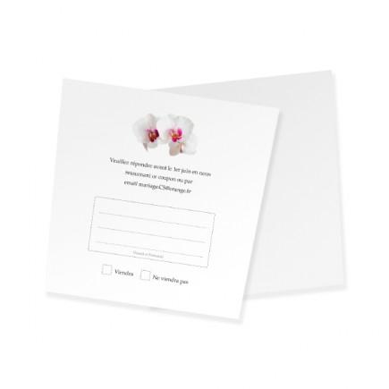 Carton réponse corset orchidée rose