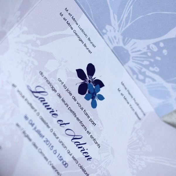 Faire Part Mariage Fleurs Bleu