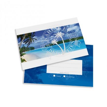 Carton réponse plage caraïbe