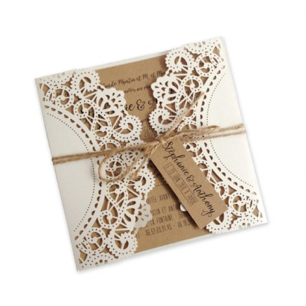 Wedding invitation vintage kraft laser cut
