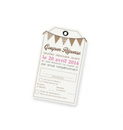 RSVP card fanion rose