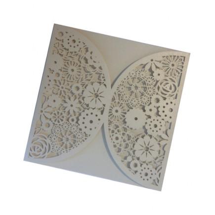 Vintage lace wedding invitation exterior