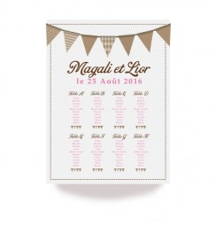 Table plan vintage pink flags