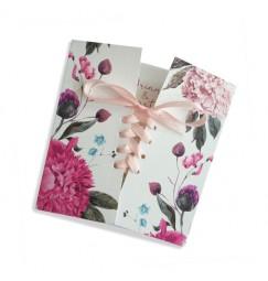 Wedding invitation boho fleurs corset