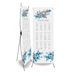Wedding table plan blue leaves and lace