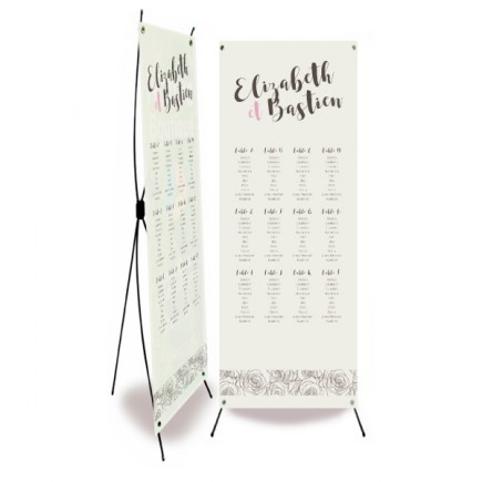 Wedding table plan grey rose flowers