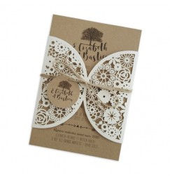 Wedding invitation lace tree