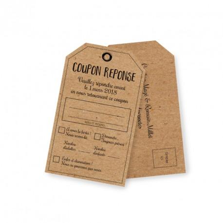 Carton réponse rustique champêtre