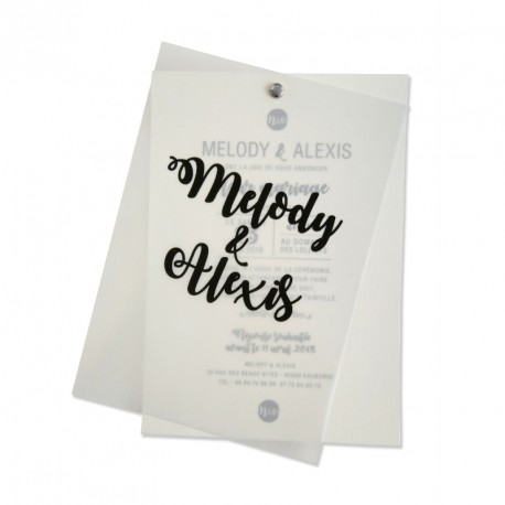 Wedding invitation white vintage