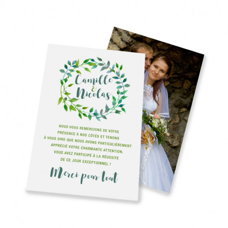 Classic thank you card green leaves