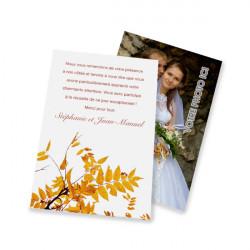 Carte de remerciement classique automne