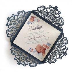Birth announcement blue dentelle