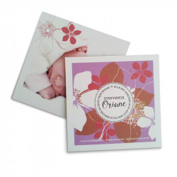Birth announcement square flowers