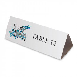 Wedding table name blue leaves