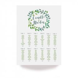 Plan de table feuille vert