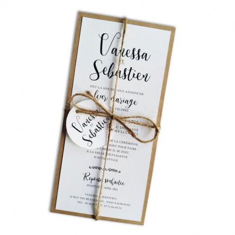 Wedding invitation white champetre