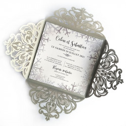 Wedding invitation winter lace