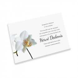 Carte remerciement décès orchidée blanche