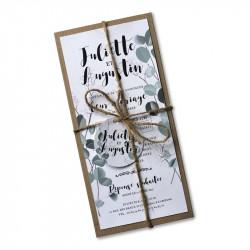 Faire part mariage eucalyptus champêrtre