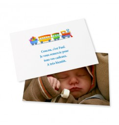 Birth thank you card train