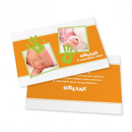 Birth thank you card les mains