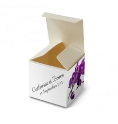 Boite de dragée orchidée violette wrap