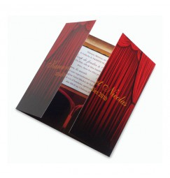 Wedding invitation opening curtain
